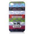 High Quality Coach Pattern Color Back Case for Apple iPhone 4th / 4G - 9