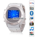 MQ866 Quad Band Single Card Bluetooth Camera Touch Screen Watch China Phone - Silver