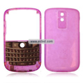 Transparent Compatible Front And Back Housing With Keypad For Blackberry 9000 Mobile Phone - Pink