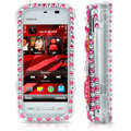 100% Brand New Pink Hearts 3D Crystal Bling Hard Plastic Case For Nokia 5230