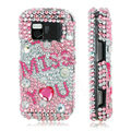 100% Brand New Pink I Miss You 3D Crystal Bling Hard Plastic Case For Nokia Mini N97