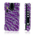 100% Brand New Purple Stripe Crystal Bling Hard Plastic Case For Sony Ericsson W995