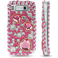100% Brand New Pink Hearts 3D Crystal Bling Hard Plastic Case For Nokia E72