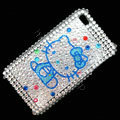 Blue Hello Kitty Crystal Bling Rhinestone Diamond Case Skin Cover For iPhone 4 4G