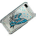 100% Brand New Blue Butterfly Crystal Bling Rhinestone Diamond Case Skin Cover For iPhone 4 4G