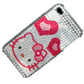 100% Brand New Hello Kitty Crystal Bling Rhinestone Diamond Case Skin Cover For iPhone 4 4G
