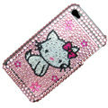 100% Brand New Lovely Hello Kitty Crystal Bling Rhinestone Diamond Case Skin Cover For iPhone 4 4G