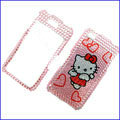 100% Brand New Pink Hello Kitty Crystal Bling Rhinestone Diamond Case Skin Cover For iPhone 4 4G