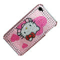 100% Brand New Pink Love Hello Kitty Crystal Bling Rhinestone Diamond Case Skin Cover For iPhone 4 4G