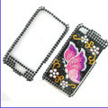 100% Brand New Red Butterfly Crystal Bling Rhinestone Diamond Case Skin Cover For iPhone 4 4G