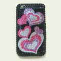 Brand New Hearts Crystal Diamond Rhinestone Plastic Hard Cover Case For Apple iphone 3G 3Gs
