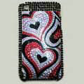 Brand New Hearts Crystal Diamond Rhinestone Plastic Case For Apple iphone 3G 3Gs