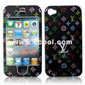 High Quality LV Pattern Protection Front & Back Case for Apple iPhone 4th / 4G - Black