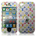 High Quality LV Pattern Protection Front & Back Case for Apple iPhone 4th / 4G - White