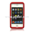 Sleeping Mat Texture Leather Back Case for Apple iPhone 4th / 4G - Red