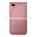 Vertical Flip Open Leather Case for Apple iPhone 4th / 4G - Pink