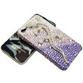 Bling Swarovski Crystal Gecko Case for iphone 4 - purple