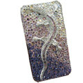 Bling Swarovski crystal Gecko case for iphone 4 - purple EB003