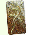 Bling Swarovski crystal Gecko case for iphone 4 - yellow EB004