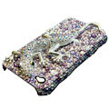 Swarovski Crystal bling Gecko Case for iphone 4 - purple