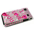 Heart Rhinestone Bling Crystal for Samsung i9000 case - pink