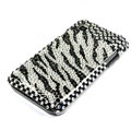 Samsung i9000 case zebra bling crystal cover - white