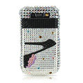 High-heeled shoes crystal case for Blackberry 8900 - black