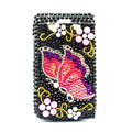 Butterfly Bling crystal case for BlackBerry 9700 - black