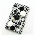 Flower 3D Bling crystal case for BlackBerry 9700 - black