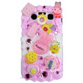 Lovely rabbit ice cream cake case for BlackBerry 9700 - pink