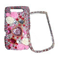 Flower 3D bling crystal case for BlackBerry 9800 - pink