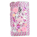 Flower 3D bling crystal case for Sony Ericsson X10
