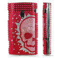 Skull bling crystal case for Sony Ericsson X10 - red