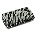 Zebra bling crystal case for Blackberry 9700 - black