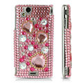 Hearts 3D Diamond Case for Sony Ericsson Xperia Arc LT15i X12 - pink