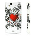 Silicone Case For Sony Ericsson Xperia Arc LT15i X12 - Red Heart pattern