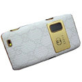 GUCCI Luxury plating leather case for Nokia E7 - white