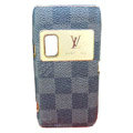 LV Luxury plating leather case for Nokia E7 - black squares