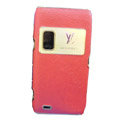 LV Luxury plating leather case for Nokia E7 - red
