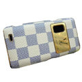LV Luxury plating leather case for Nokia E7 - white squares