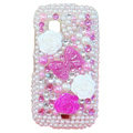 Bowknot bling pearl crystal case for Nokia C5-03 - pink