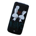 Love rabbits color covers for Nokia C5-03 - black