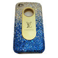 LV Bling crystal hard case for iPhone 4G - blue EB001