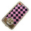 LV metal case bling crystal cover for iPhone 4G - pink