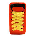 ISHOES Shoelace silicone cases covers for iPhone 4G - orange
