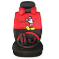 Mickey Mouse Auto Car Front Rear Seat Covers Cushion - red