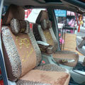 Leopard plush universal Car Seat Covers sets - brown