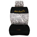 Zebra Auto Car Front Rear Seat Covers Cushion - black