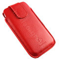 Holster leather case for Blackberry Bold Touch 9900 - red