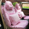 Ice silk Lace Car Seat Covers Cushion sets - Pink